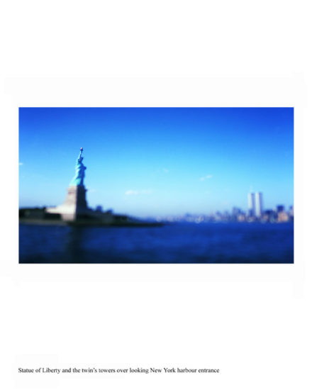 New-York Memories- view of Manhattan from Liberty Island-Statue of Liberty and the twin's towers over looking NY harbor entrance.